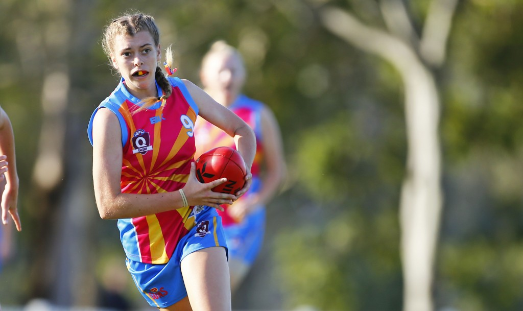 BRISBANE, AUSTRALIA - OCTOBER 21: Gold Coast v Sunshine Coast during the 2016 Under 17's Youth Girls Championships at Leshon Park on October 21, 2016 in Yeronga, Brisbane, Australia. (Photo by Jason O'Brien/AFL Media)