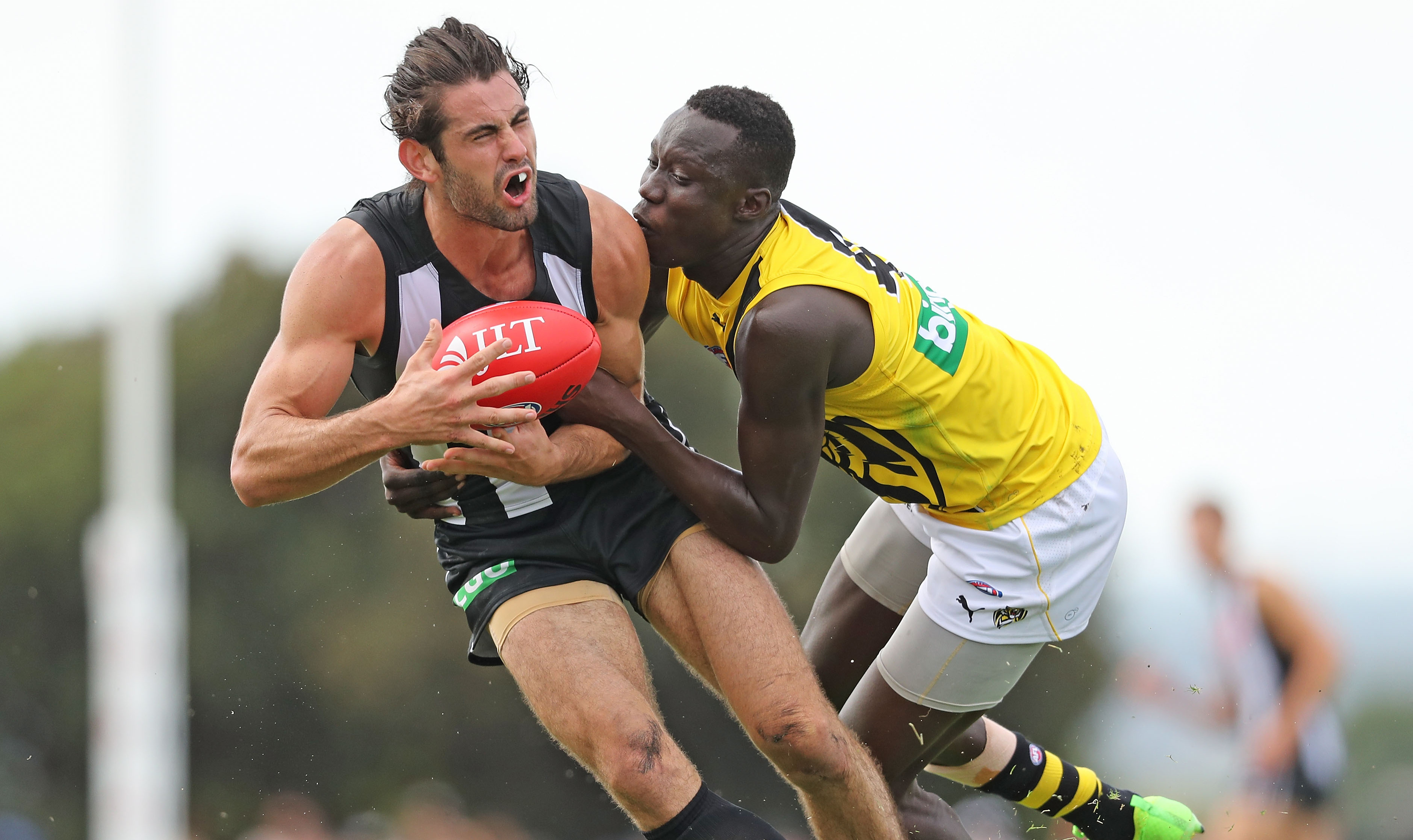 MOE, AUSTRALIA - MARCH 11:  Brodie Grundy of the Magpies is tackled by Mabior Chol of the Tigers during the 2017 JLT Community Series AFL match between the Richmond Tigers and the Collingwood Magpies at Ted Summerton Reserve on March 11, 2017 in Moe, Australia.  (Photo by Scott Barbour/Getty Images)