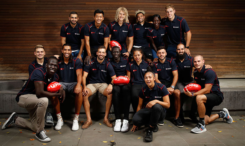 MELBOURNE, AUSTRALIA - MARCH 15: The ambassadors pose for a photo during the 2017 Australia Post AFL Multicultural Player Ambassadors Announcement on Wednesday 15 March, 2017 in Melbourne, Australia. (Photo by Adam Trafford/AFL Media)