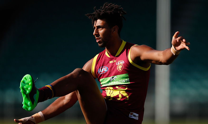 LAUNCESTON, AUSTRALIA - DECEMBER 16: Archie Smith of the Lions kicks the ball during the Brisbane Lions training session at Aurora Stadium in Launceston, Australia on December 16, 2016. (Photo by Adam Trafford/AFL Media)