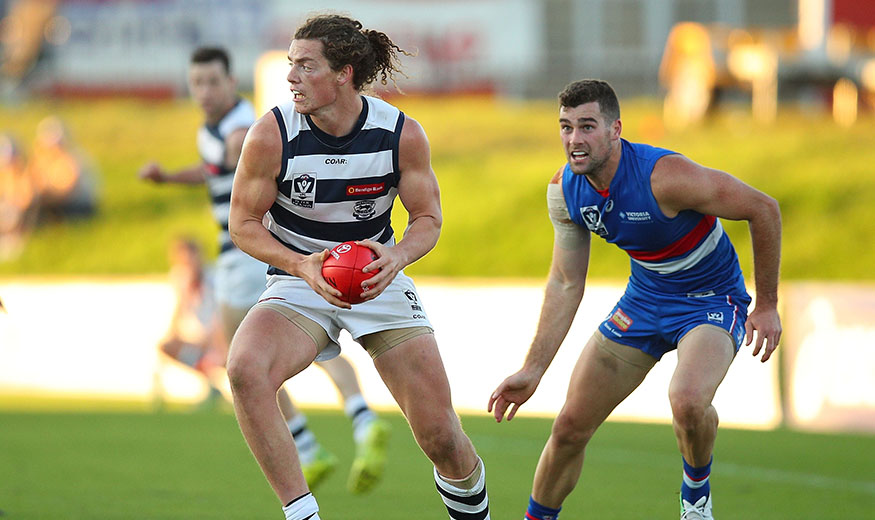 MELBOURNE, AUSTRALIA - MAY 20:  Wylie Buzza of Geelong (L) in action during the round six VFL match between the Footscray Bulldogs and the Geelong Cats at Whitten Oval on May 20, 2017 in Melbourne, Australia.  (Photo by Graham Denholm/AFL Media)
