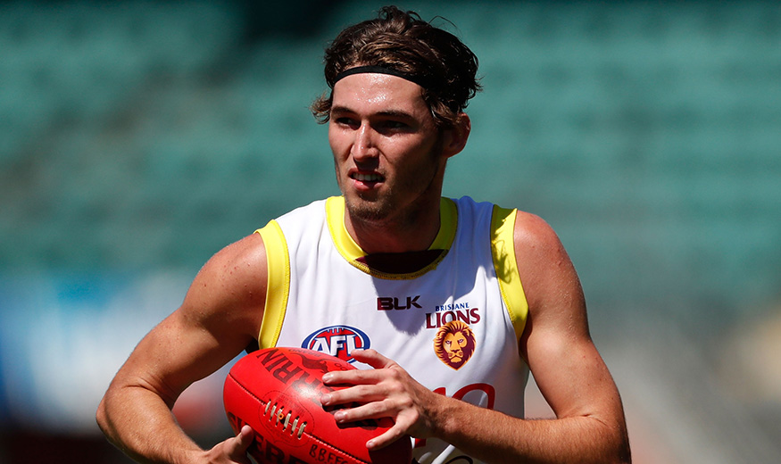 LAUNCESTON, AUSTRALIA - DECEMBER 16: Jacob Allison of the Lions in action during the Brisbane Lions training session at Aurora Stadium in Launceston, Australia on December 16, 2016. (Photo by Adam Trafford/AFL Media)
