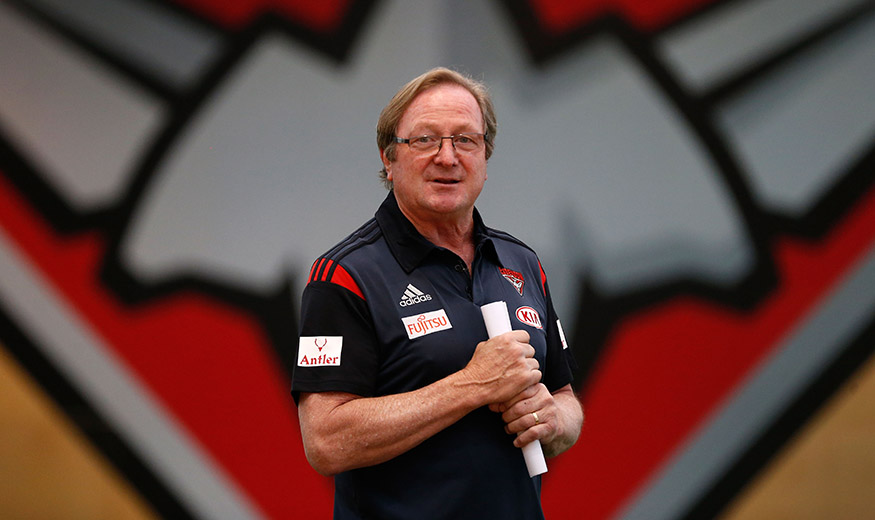 MELBOURNE, AUSTRALIA - DECEMBER 01: Kevin Sheedy addresses players during the AFL Victoria Women's Academy training session at the True Value Solar Centre, Melbourne on December 01, 2015. (Photo: Adam Trafford/AFL Media)