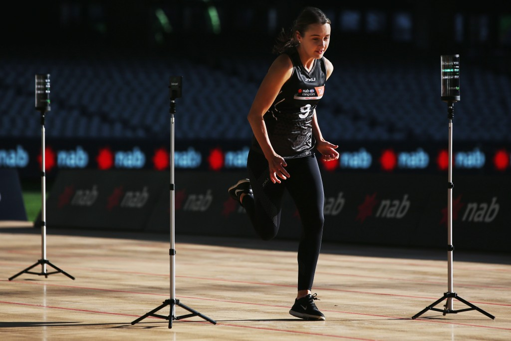 MELBOURNE, AUSTRALIA - OCTOBER 04: Gabby Collingwood from University Of Queensland takes part in the 20m sprint during the AFLW Draft Combine at Etihad Stadium on October 4, 2017 in Melbourne, Australia. (Photo by Michael Dodge/Getty Images/AFL Media)