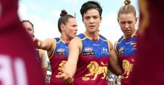 BRISBANE, AUSTRALIA - MARCH 11:  Samantha Virgo of the Lions in the huddle during the round six AFL Women's match between the Brisbane Lions and the Western Bulldogs at South Pine Sports Complex on March 11, 2017 in Brisbane, Australia.  (Photo by Chris Hyde/AFL Media/Getty Images)