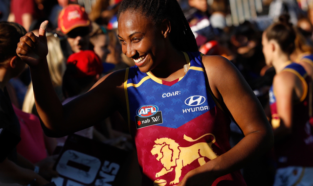 MELBOURNE, AUSTRALIA - MARCH 19: Sabrina Frederick-Traub of the Lions thanks fans during the 2017 AFLW Round 07 match between the Carlton Blues and the Brisbane Lions at Ikon Park on March 19, 2017 in Melbourne, Australia. (Photo by Adam Trafford/AFL Media)